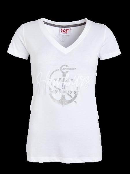 T-Shirt GLITTER Damen Weiß